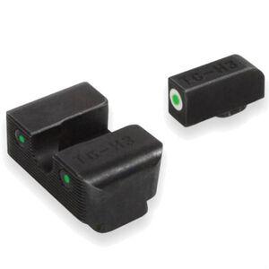 TruGlo Brite Site Tritium Pro for .380 S&W Bodyguard, Front/Rear Night Sight Set, Green Tritium 3-Dot, Front White Focus Lock Ring, Steel, Black