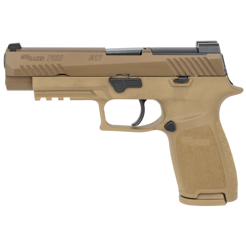 """SIG Sauer P320-M17 Full Size Semi Auto Pistol 9mm Luger 4.7"""" Barrel 17/21 Rounds SIGLITE Sights No Manual Safety Coyote Tan Finish"""