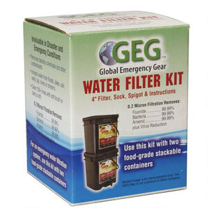 Global Emergency Gear Water Filter Kit, Purifies 30-35 Gallons/Day