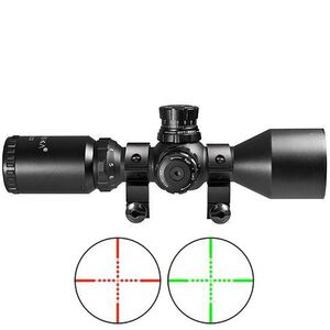Barska Contour 3-9x42 Compact Riflescope Illuminated Red and Green Mil-Dot Reticle 1/4 MOA Matte Black Finish AC11422