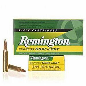Remington Express 6mm Remington Ammunition 20 Rounds 100 Grain Core-Lokt PSP Soft Point Projectile 3100fps