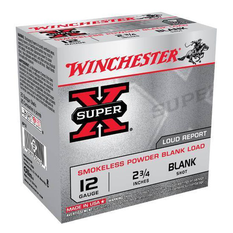 "Winchester Super-X 12 Gauge Blank Ammunition 2-3/4"" Smokeless Powder Blank Load Loud Report"