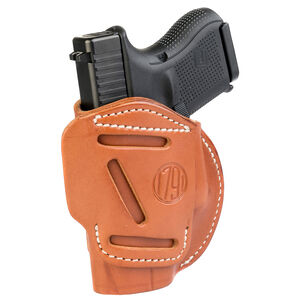 1791 Gunleather 4 Way WH-3 Multi-Fit IWB/OWB Concealment Holster for 9mm Luger/.40 S&W Sub Compact Semi Auto Models Right Hand Draw Leather Classic Brown