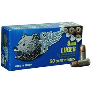 Silver Bear 9mm JHP 145 Grain 1010 fps 50 Round Box