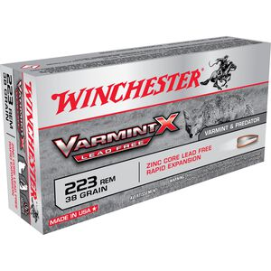 Winchester Varmint-X Lead Free .223 Remington Ammunition 38 Grain Zinc Core Hollow Point 3