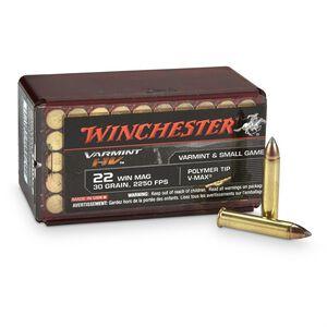Winchester Varmint HV .22 WMR Ammunition 50 Rounds, V-Max, 30 Grains