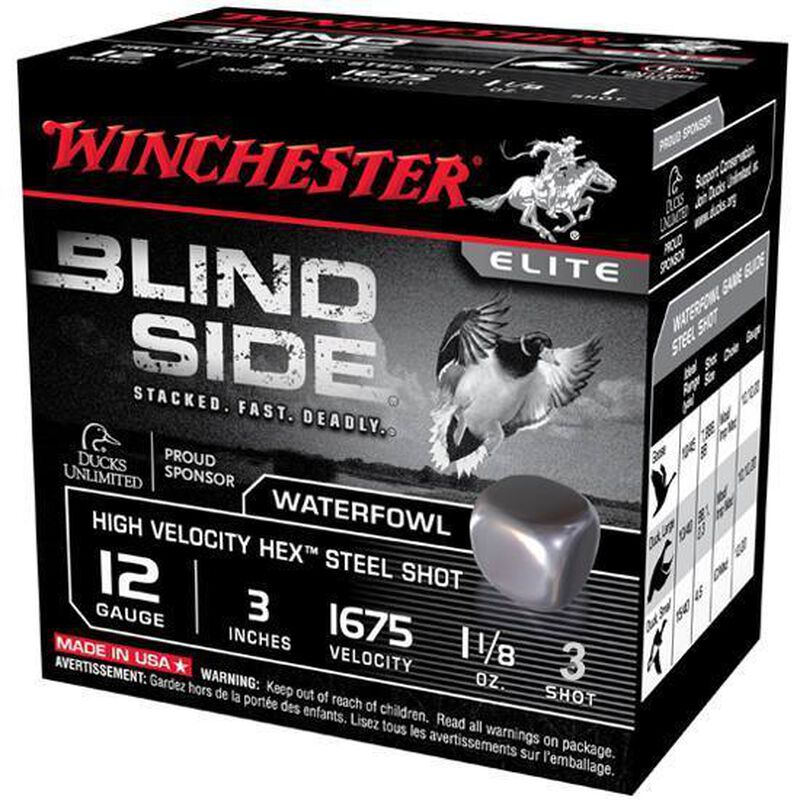 "Winchester Blind Side 12 Gauge Ammunition 25 Rounds, 3"", Hex Steel #3"