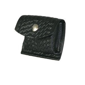 "Boston Leather Rubbler Glove CPR Shield Pouch 2.25"" Belt Brass Snap Leather Basket Weave Black 5640-3-B"
