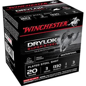"Winchester Drylok Super Steel 20 Gauge Ammunition 250 Rounds 3"" #3 Steel Plated 1oz 1330fps"