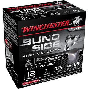 "Winchester Blind Side High Velocity 12 Gauge Ammunition 3"" BB Hex Steel Shot 1-1/8 oz 1675 fps"