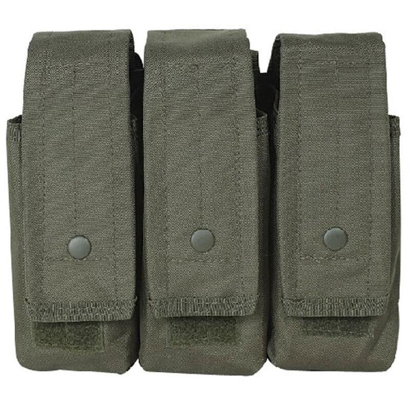 Voodoo Tactical AK47/AK74/M4/AR-15 Triple Magazine Pouch Hook/Loop Flap Adjustable Snap Closure MOLLE Webbing Compatible Nylon OD Green