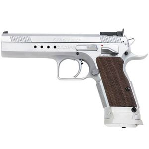 """EAA Witness Elite Limited Semi Auto Pistol 10mm 4.75"""" Barrel 15 Rounds Single Action Fully Adjustable Sights Extended Magazine Release Chrome Walnut Grips 600343"""