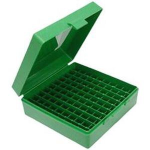 MTM Case-Gard P-100 Series .357 Magnum 100 Rounds Flip Top Handgun Cartridge Box Polymer Green P-100-3-10