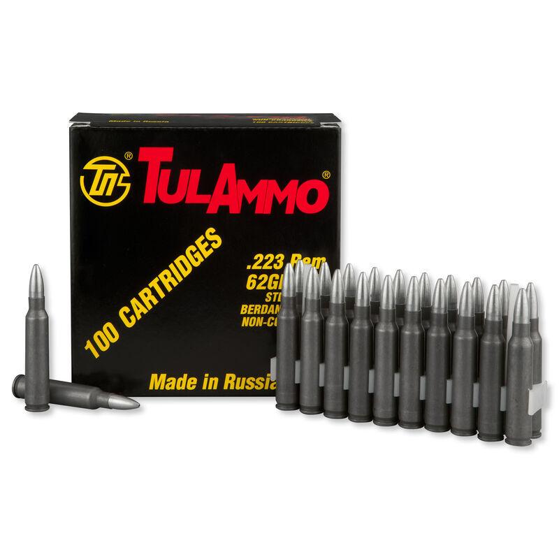 TulAmmo .223 Remington Ammunition, 100 Rounds, Steel Case HP, 62 Grains
