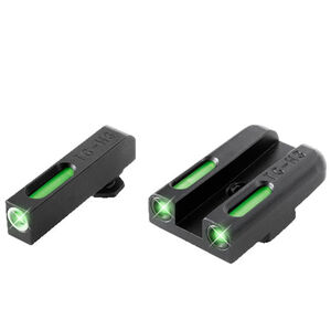 TruGlo TFX Standard Height GLOCK 42/43 Front/Rear Day/Night Sight Set Green Tritium 3-Dot Configuration Front White Focus Lock Ring Square Cut Rear Notch Steel Black