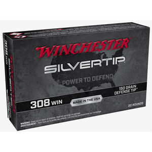 Winchester Silvertip .308 Win Ammuntion 20 Rounds Defense Tip 150 Grain W308ST