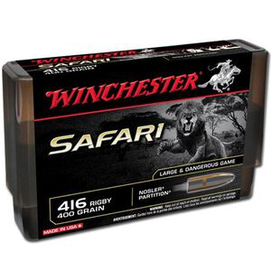 Winchester Safari .416 Rigby Ammunition 20 Rounds Nosler Partition 400 Grains S416RSLSP