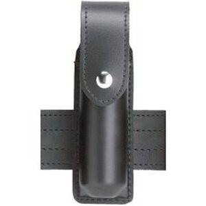 "Safariland Model 38 OC Spray Holder Standard Top Flap 1.375""x4"" SafariLaminate Brass Snap Closure Plain Black 38-2-2B"