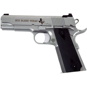 """Dan Wesson 1911 Valor Commander Texas Edition Semi Auto Pistol 9mm Luger 4.25"""" Match Grade Barrel 9 Rounds Fixed Tritium Night Sights Matte Stainless Steel Glass Bead Finish"""
