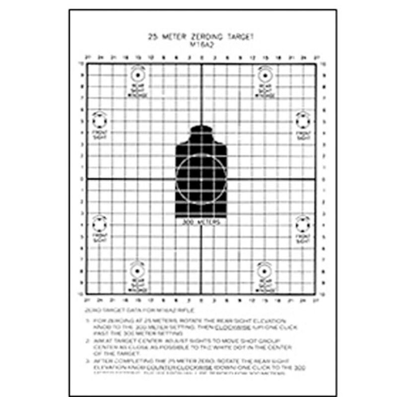 "Action Target 25-Meter M16A2 Zeroing Target 8.75""X11.5"" Heavy Tagboard Paper 100 Pack"