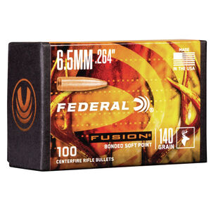 "Federal Fusion Bullets 6.5 Caliber .264"" Diameter 140 Grain Fusion Bonded Soft Point Projectile 100 Count Per Box"