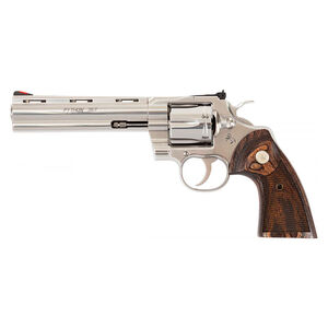 "Colt Python .357 Magnum Revolver 6"" Barrel 6 Rounds Walnut Target Grips Semi-Bright Stainless Steel Finish"