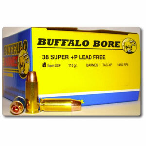 Buffalo Bore .38 Super +P Ammunition 20 Rounds Barnes TAC-XP 115 Grains 33F/20