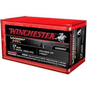 Winchester Varmint HV .17 HMR Hornady V-Max Polymer Tip, 17 Grain, 2550 fps, 50 Round Box, S17HMR1