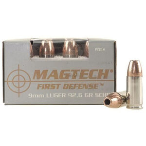 Magtech First Defense 9mm Luger Ammunition 20 Rounds SCHP 93 Grains FD9A
