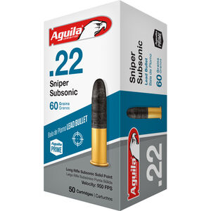 Aguila Sniper Subsonic .22 LR Ammunition 50 Rounds 60 Grain LRN 950fps