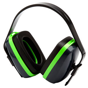 Pyramex VG10 Series Earmuff 25dB Noise Reduction Rating Adjustable Headband Black/Green Accents