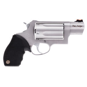 """Taurus Judge Public Defender Double Action Revolver .45 Long Colt/.410 Bore 2.5"""" Chamber 2.5"""" Barrel 5 Round Fixed Red Fiber Optic Front Sight/Fixed Rear Sight Ribbed Rubber Grip Stainless Steel Frame Matte Stainless Finish"""
