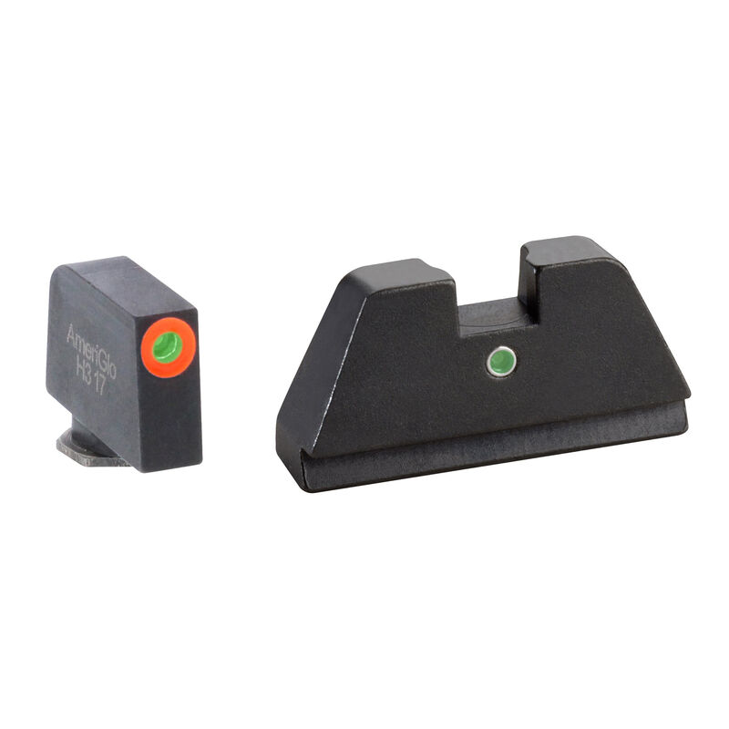 Ameriglo Tall Suppressor Sight Set for GLOCK Green Tritium Front Dot with Orange Outline and Single Green Tritium Rear Dot