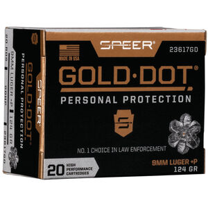 Speer Gold Dot Personal Protection 9mm Luger +P Ammunition 20 Rounds 124 Grain GDHP 1220fps