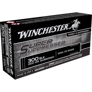 Winchester Super Suppressed .300 AAC Blackout Subsonic Ammunition 20 Rounds 200 Grain Open Tip Range Bullet 1060fps