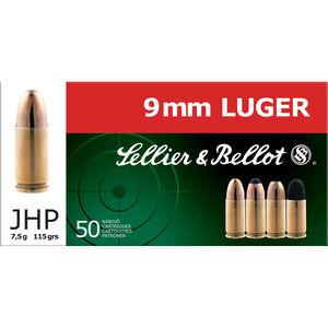Sellier & Bellot 9mm Luger Ammunition 50 Rounds JHP 115 Grains SB9C