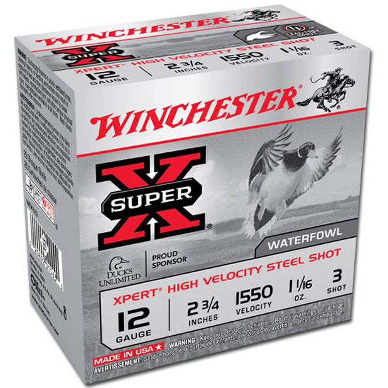 "Winchester 12 Gauge Ammunition 25 Rounds 2.75"" #3 Steel Shot 1.0625 oz."