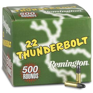 Remington 22 Thunderbolt .22LR Ammunition 40 Grain Lead Round Nose 1255 fps 500 Round Brick