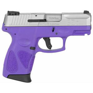 "Taurus PT111 G2C Semi Auto Pistol 9mm Luger 3.2"" Barrel 12 Rounds 3 Dot Sights Matte Stainless Steel Slide/Polymer Frame Dark Purple Finish"