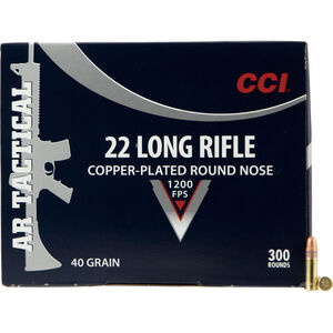 CCI AR Tactical .22 Long Rifle Ammunition 300 Rounds 40 Grain Copper Plated Lead Round Nose 1200fps