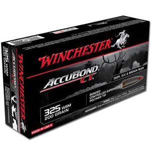 Ammo .325 WSM Winchester Supreme 200 Grain AccuBond CT Bullet 2950 fps 20 Rounds S325WSMCT