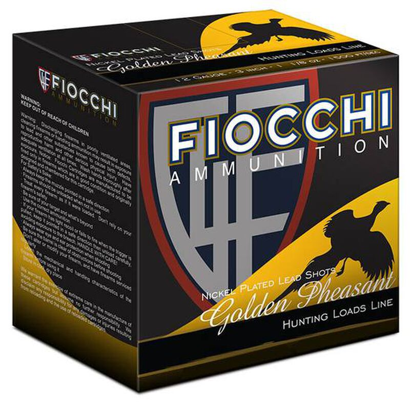 "Fiocchi EXTREMA Golden Pheasant 12 Gauge Ammunition 2-3/4"" #6 Nickel Plated Lead Shot 1-3/8 oz 1485 fps"