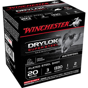 "Winchester Drylok Super Steel 20 Gauge Ammunition 25 Rounds 3"" #2 Steel Plated 1oz 1330fps"