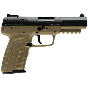 "FNH FN Five-seveN 5.7x28mm Semi Auto Pistol 4.8"" Barrel 20 Rounds Ambidextrous Controls Polymer Frame FDE/Black"