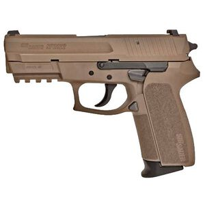 "SIG Sauer SP2022 Semi Automatic Pistol 9mm Luger 3.9"" Barrel 15 Rounds Polymer Frame Nitron Flat Dark Earth Finish E2022-9-FDE"