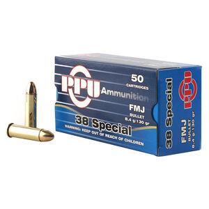 Prvi Partizan PPU .38 Special Ammunition 50 Rounds 130 Grain Full Metal Jacket 1017fps