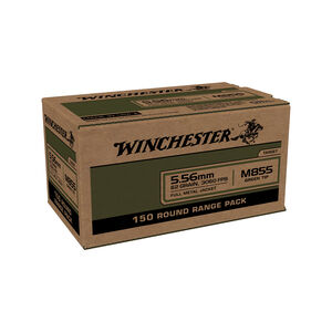 Winchester Lake City M855 5.56 NATO Ammunition 150 Rounds FMJ 62 Grains Green Tip WM855150