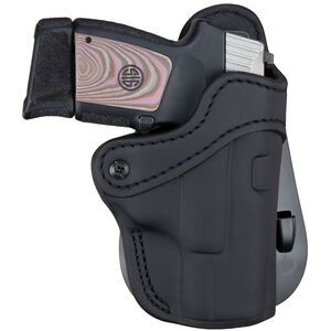 1791 Gunleather Optic Ready Open Top Multi-Fit 2.1 OWB Paddle Holster for Sub Compact/Compact/Full Size Semi Auto Models Right Hand Draw Leather Stealth Black
