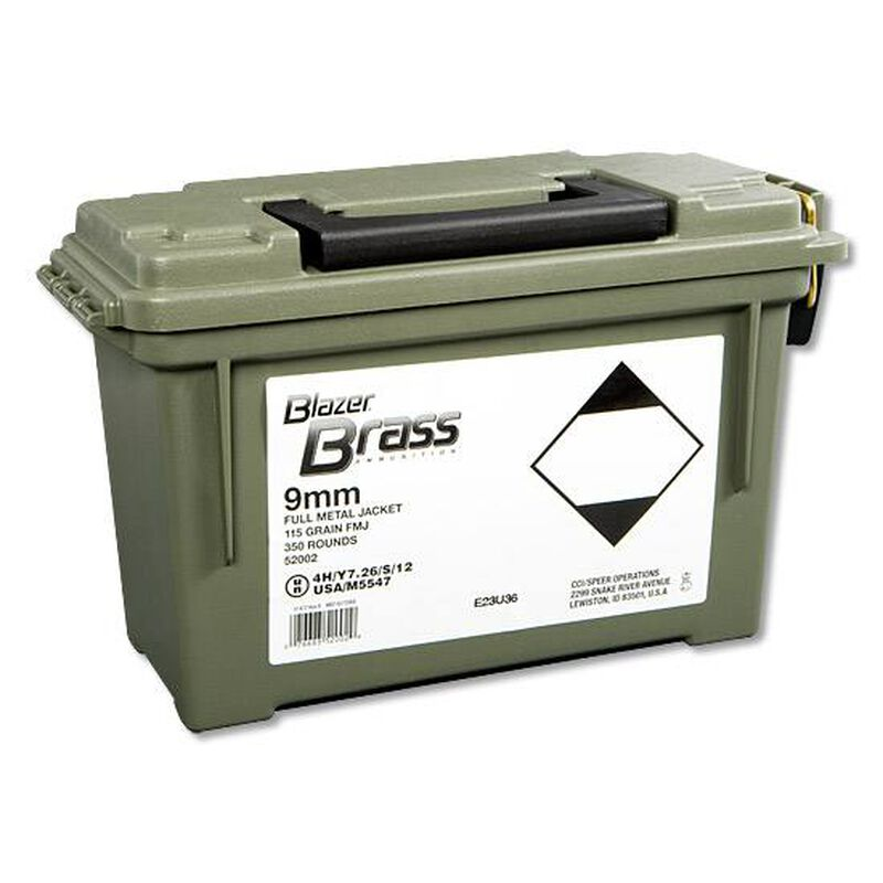 CCI Blazer Brass 9mm Luger Ammunition 350 Rounds FMJ 115 Grains 52002
