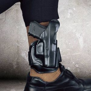 DeSantis Ankle Ankle Holster For GLOCK 26/23/27/33 Right Hand Leather Black 044BAE1Z0